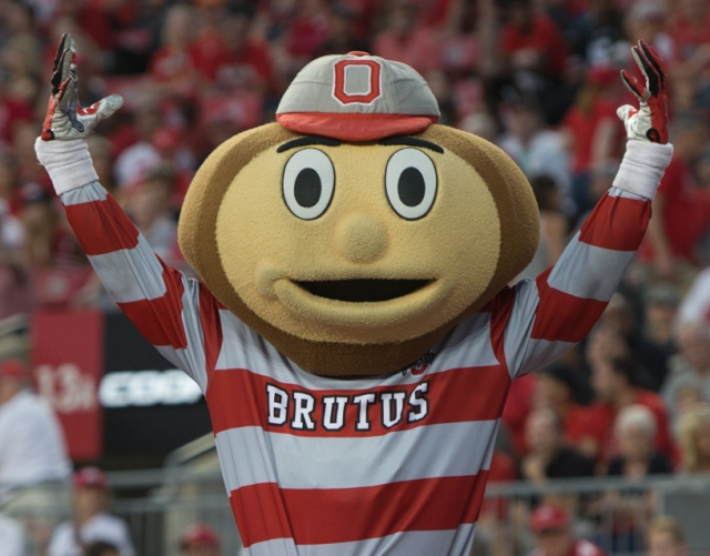 Photo via Wikimedia Commons: (https://en.wikipedia.org/wiki/Ohio_State_Buckeyes_football#/media/File:Brutus_Buckeye_in_2017.jpg)